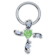 Green Heart Cross Nipple Ring