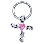 Pink Heart Cross Nipple Ring
