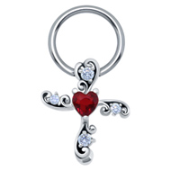 Red Heart Cross Nipple Ring