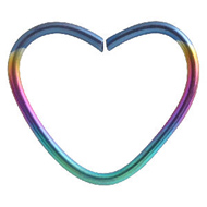 Rainbow Heart Continuous Piercing Ring