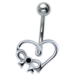 Black Bow & Heart Belly Bar
