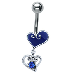 Blue Heart Drop Belly Bar