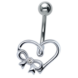 Crystal Bow & Heart Belly Bar