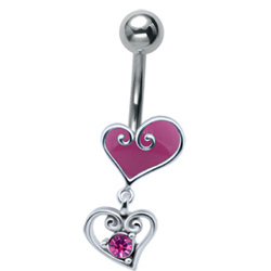 Pink Heart Drop Belly Bar